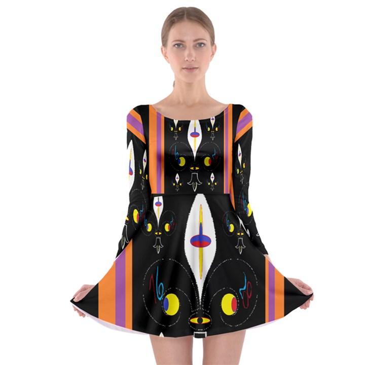 Flower F D L Long Sleeve Skater Dress