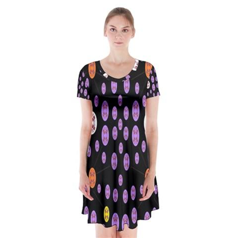 Alphabet Shirtjhjervbret (2)fvgbgnhllhn Short Sleeve V-neck Flare Dress