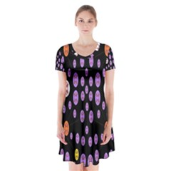 Alphabet Shirtjhjervbret (2)fvgbgnhllhn Short Sleeve V-neck Flare Dress