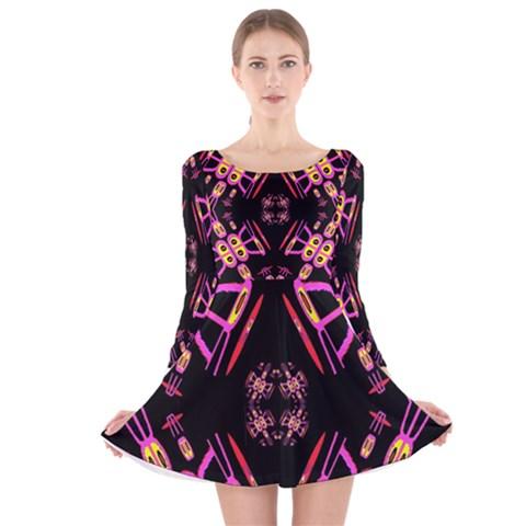 Alphabet Shirtjhjervbret (2)fv Long Sleeve Velvet Skater Dress