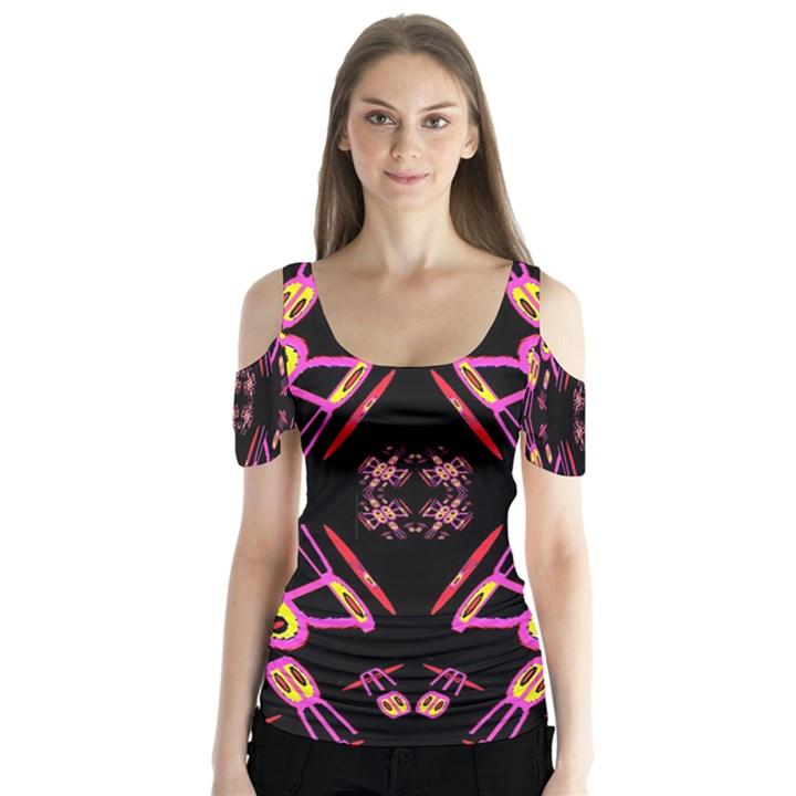Alphabet Shirtjhjervbret (2)fv Butterfly Sleeve Cutout Tee