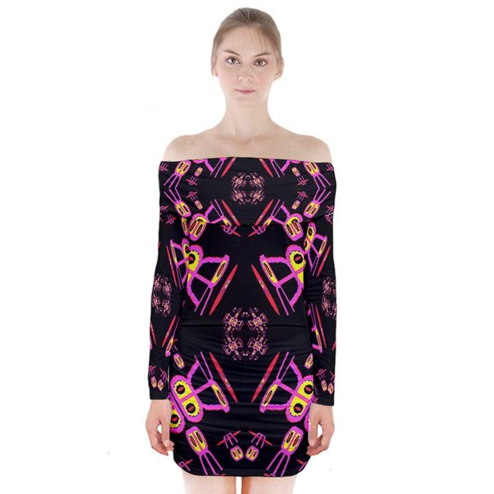 Alphabet Shirtjhjervbret (2)fv Long Sleeve Off Shoulder Dress