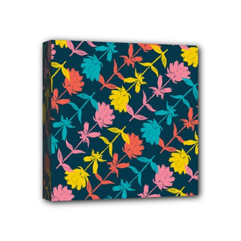 Colorful Floral Pattern Mini Canvas 4  X 4