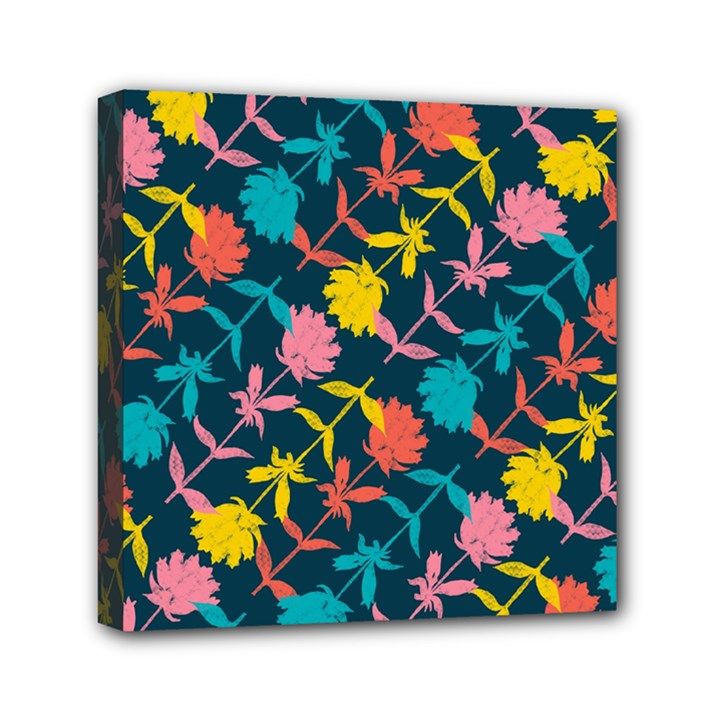 Colorful Floral Pattern Mini Canvas 6  x 6