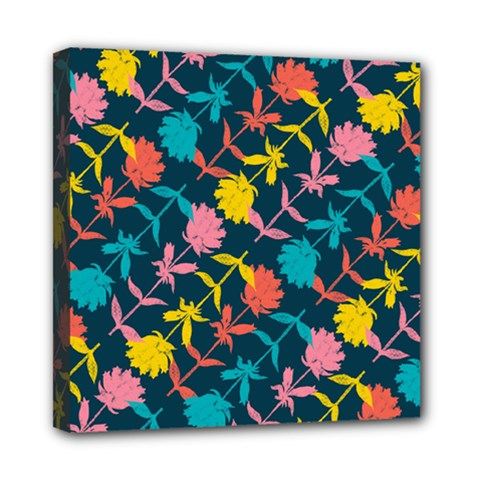 Colorful Floral Pattern Mini Canvas 8  x 8