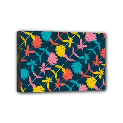 Colorful Floral Pattern Mini Canvas 6  X 4