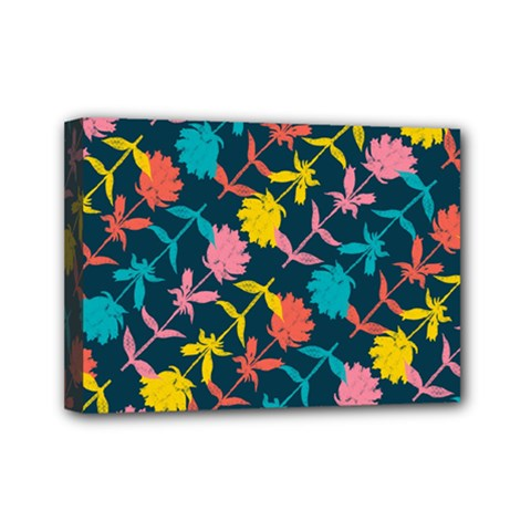 Colorful Floral Pattern Mini Canvas 7  X 5