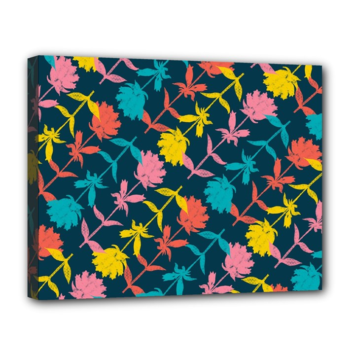 Colorful Floral Pattern Canvas 14  x 11