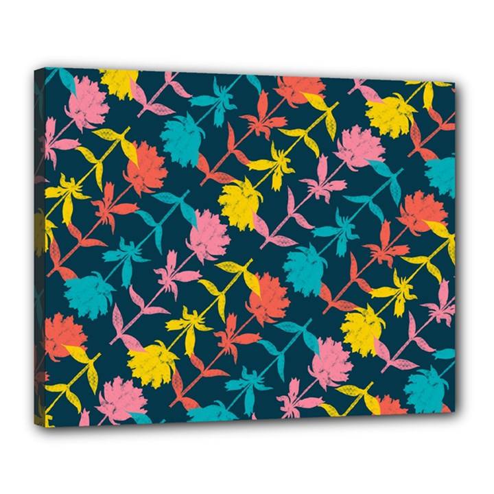Colorful Floral Pattern Canvas 20  x 16