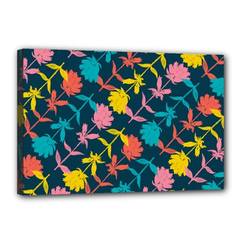 Colorful Floral Pattern Canvas 18  x 12