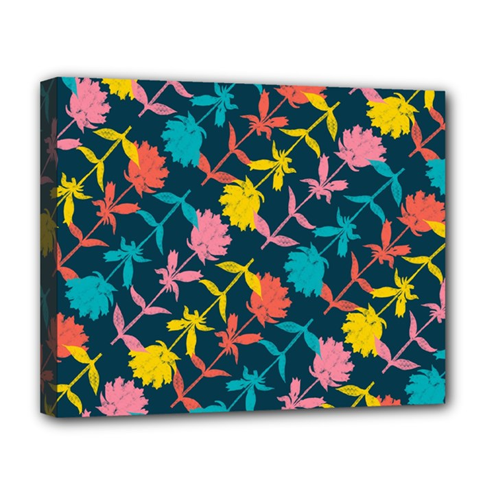 Colorful Floral Pattern Deluxe Canvas 20  x 16