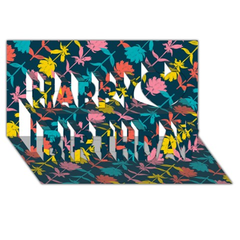 Colorful Floral Pattern Happy Birthday 3D Greeting Card (8x4)