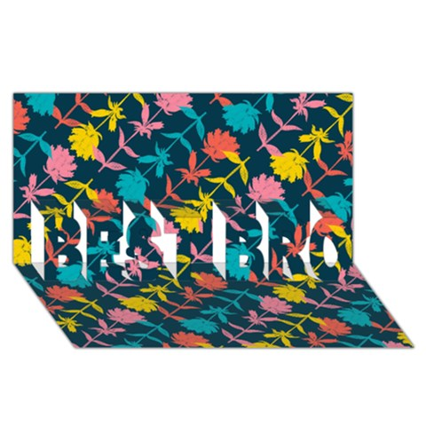 Colorful Floral Pattern BEST BRO 3D Greeting Card (8x4)
