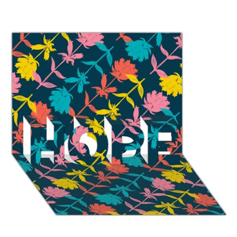 Colorful Floral Pattern HOPE 3D Greeting Card (7x5)