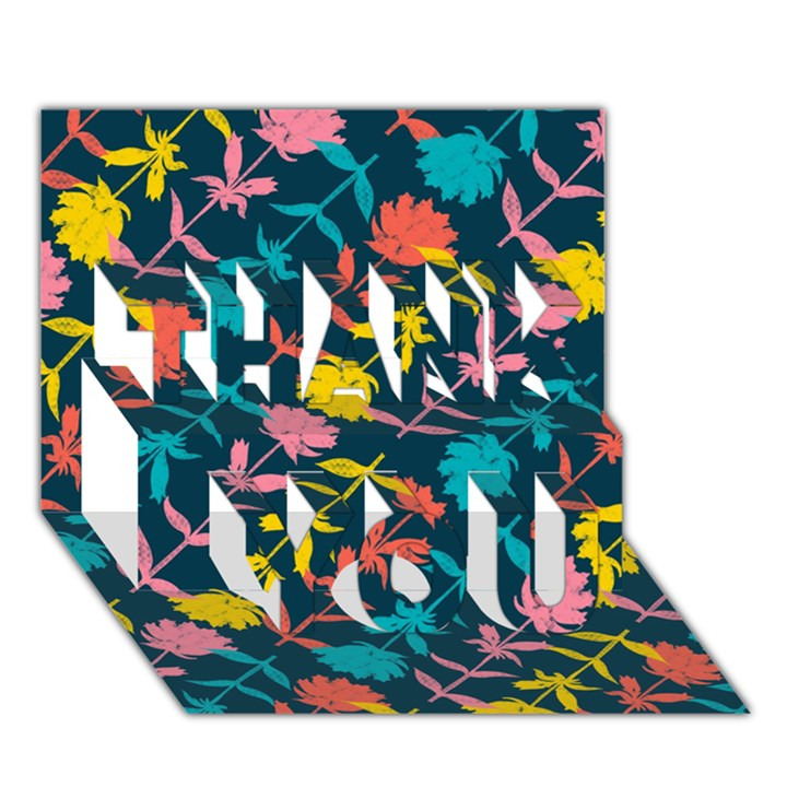 Colorful Floral Pattern THANK YOU 3D Greeting Card (7x5)