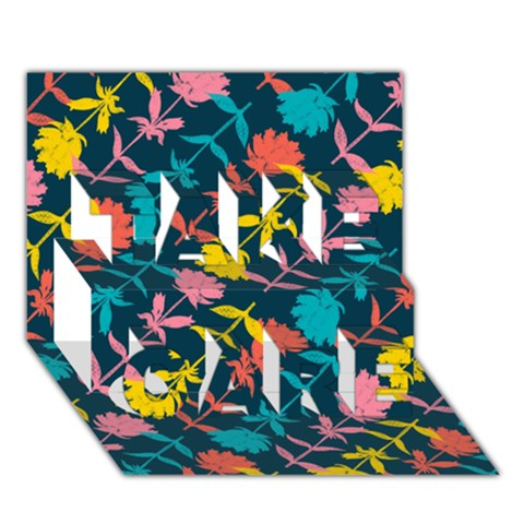 Colorful Floral Pattern TAKE CARE 3D Greeting Card (7x5)