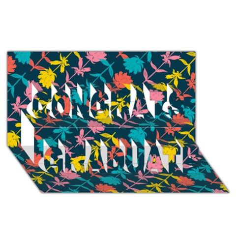 Colorful Floral Pattern Congrats Graduate 3D Greeting Card (8x4)