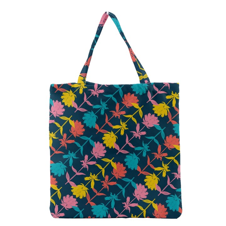 Colorful Floral Pattern Grocery Tote Bag