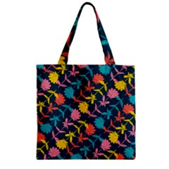 Colorful Floral Pattern Zipper Grocery Tote Bag
