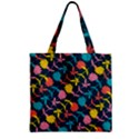 Colorful Floral Pattern Zipper Grocery Tote Bag View1