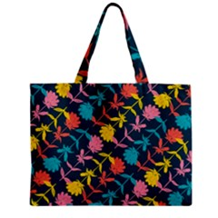 Colorful Floral Pattern Zipper Mini Tote Bag