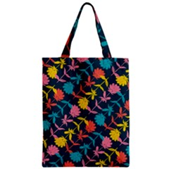 Colorful Floral Pattern Zipper Classic Tote Bag