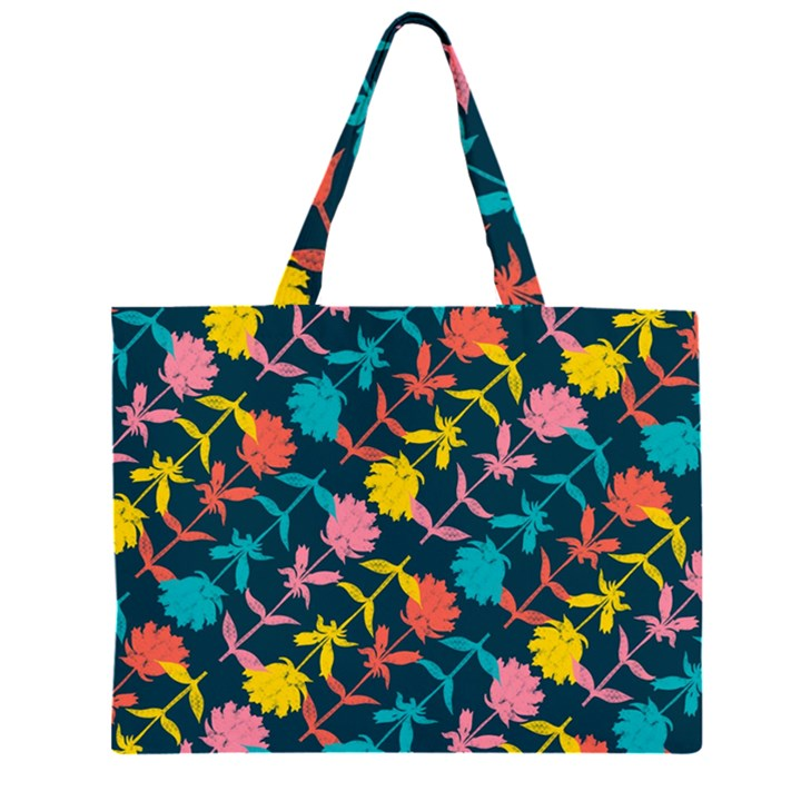 Colorful Floral Pattern Large Tote Bag