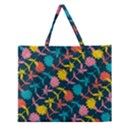 Colorful Floral Pattern Zipper Large Tote Bag View1