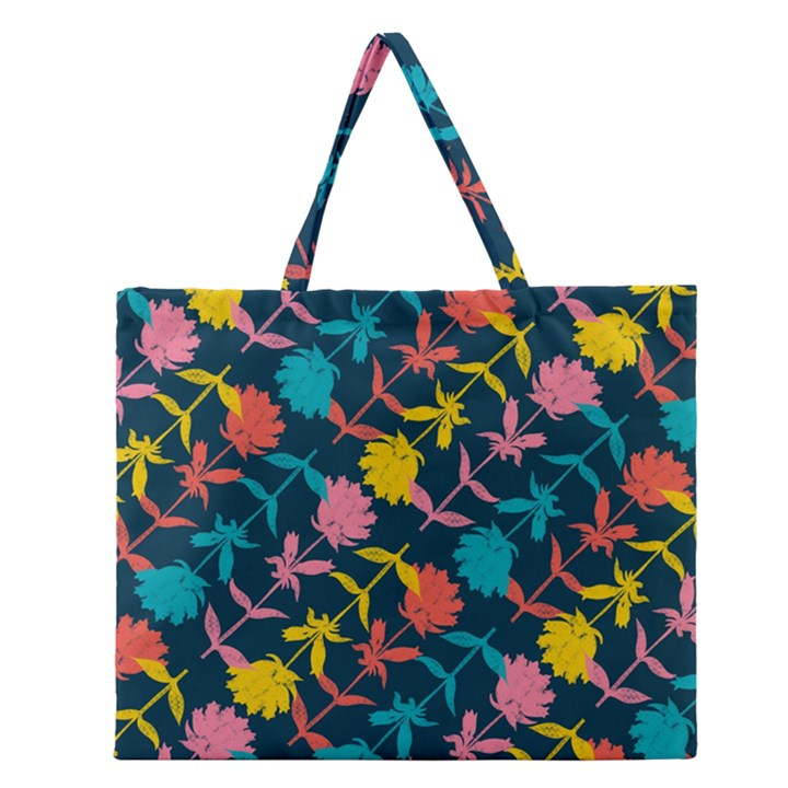 Colorful Floral Pattern Zipper Large Tote Bag
