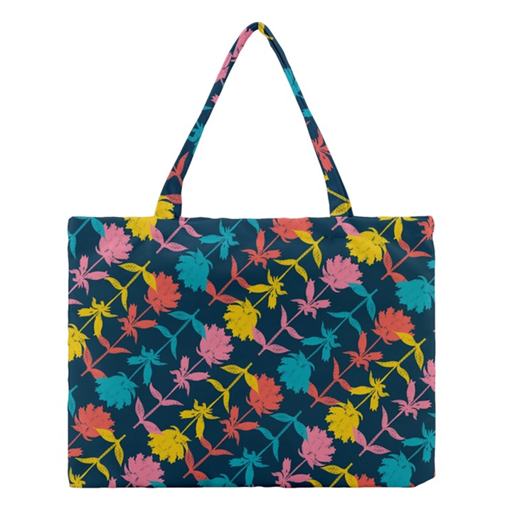 Colorful Floral Pattern Medium Tote Bag