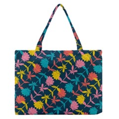 Colorful Floral Pattern Medium Zipper Tote Bag