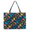 Colorful Floral Pattern Medium Zipper Tote Bag View1