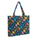 Colorful Floral Pattern Medium Zipper Tote Bag View2