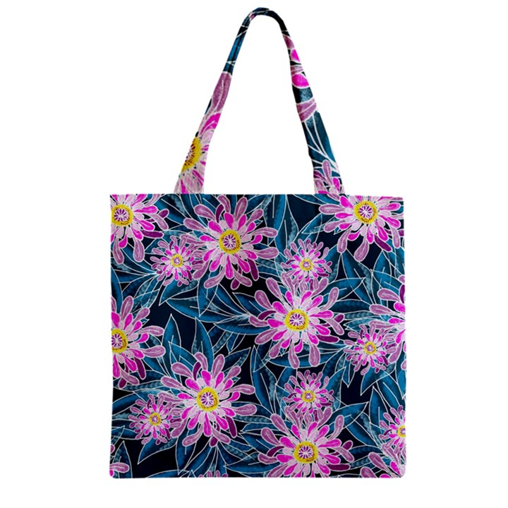 Whimsical Garden Zipper Grocery Tote Bag