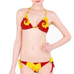 Flower Blossom Spiral Design  Red Yellow Bikini Set