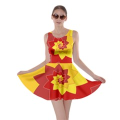 Flower Blossom Spiral Design  Red Yellow Skater Dress