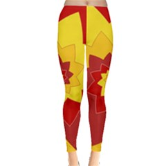 Flower Blossom Spiral Design  Red Yellow Leggings