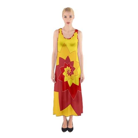 Flower Blossom Spiral Design  Red Yellow Sleeveless Maxi Dress