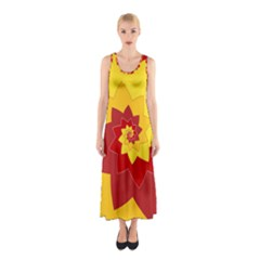 Flower Blossom Spiral Design  Red Yellow Sleeveless Maxi Dress