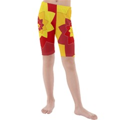 Flower Blossom Spiral Design  Red Yellow Kids  Mid Length Swim Shorts