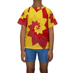 Flower Blossom Spiral Design  Red Yellow Kids  Short Sleeve Swimwear