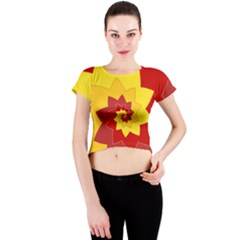 Flower Blossom Spiral Design  Red Yellow Crew Neck Crop Top