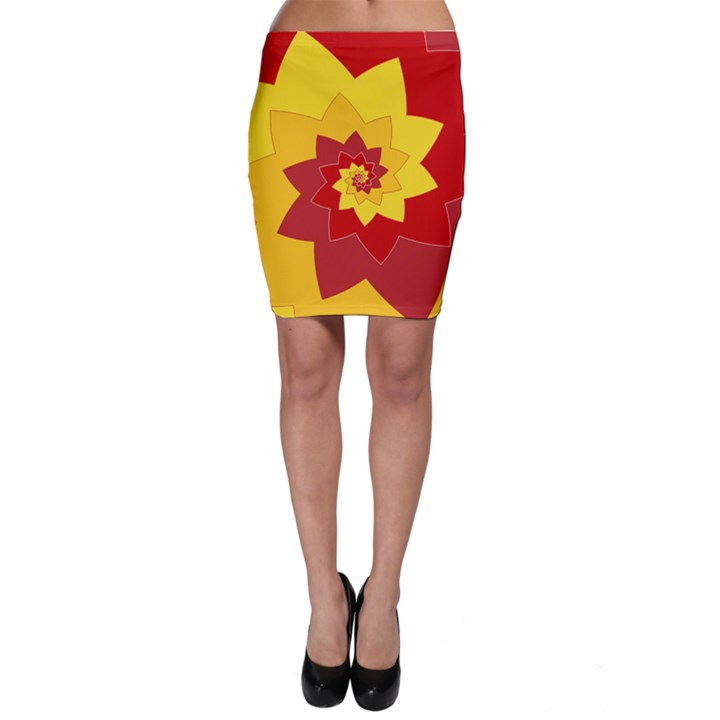 Flower Blossom Spiral Design  Red Yellow Bodycon Skirt
