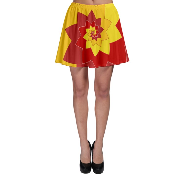 Flower Blossom Spiral Design  Red Yellow Skater Skirt