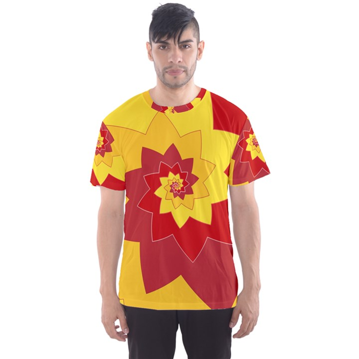 Flower Blossom Spiral Design  Red Yellow Men s Sport Mesh Tee