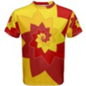 Flower Blossom Spiral Design  Red Yellow Men s Cotton Tee View1