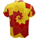 Flower Blossom Spiral Design  Red Yellow Men s Cotton Tee View2