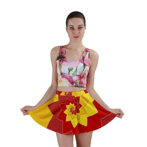 Flower Blossom Spiral Design  Red Yellow Mini Skirt