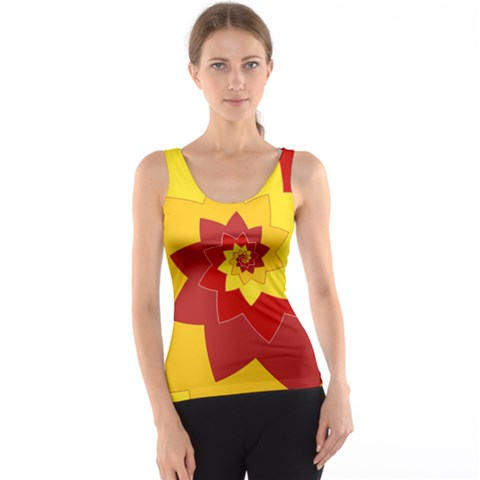 Flower Blossom Spiral Design  Red Yellow Tank Top