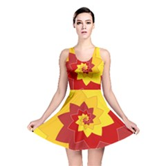 Flower Blossom Spiral Design  Red Yellow Reversible Skater Dress